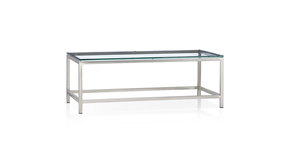 Era Rectangular Glass Coffee Table + Reviews | Crate And Barrel Inside Rectangular Brass Finish And Glass Coffee Tables (View 20 of 40)