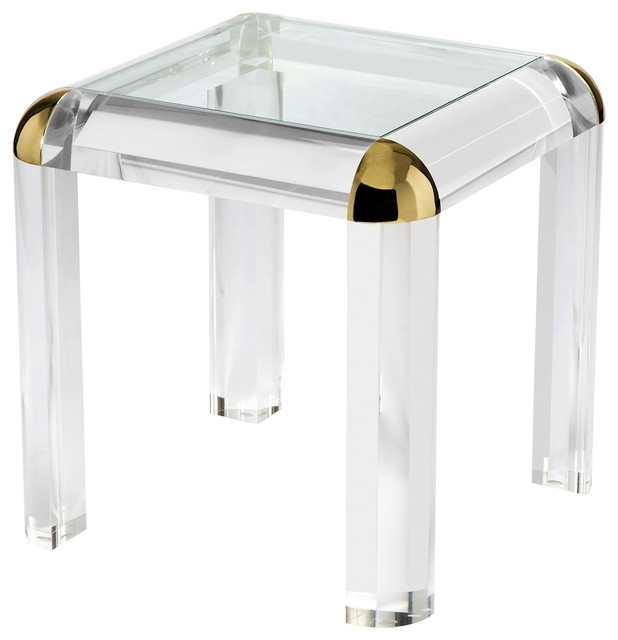 Evalyn Modern Classic Brass Corner Acrylic End Table – Modern – Side In Acrylic Glass And Brass Coffee Tables (Photo 29 of 40)