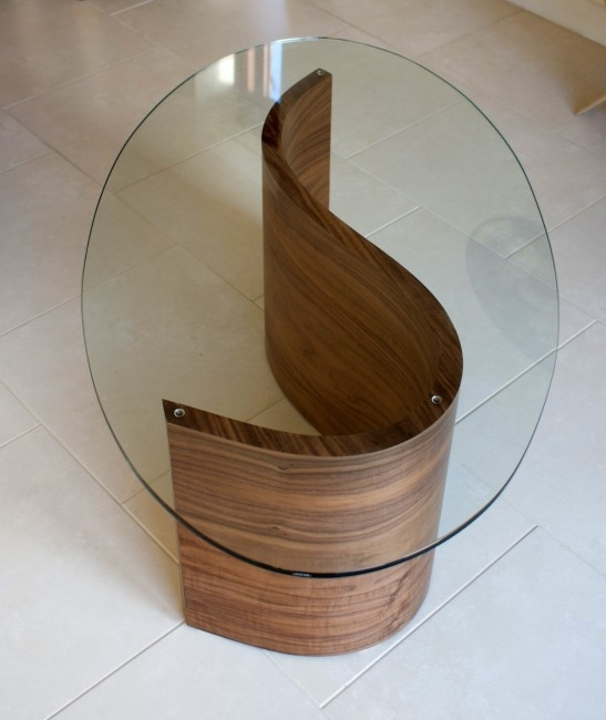 Exclusive Modern Coffee Table, Curving Wood With Glass Top Regarding Contemporary Curves Coffee Tables (View 8 of 40)
