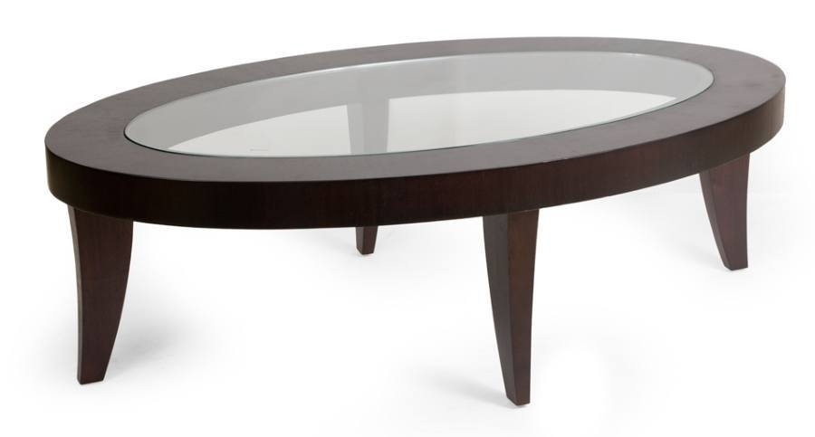 F164 – Chocolate Brown Wooden Oval Coffee Table Within Brisbane Oval Coffee Tables (Image 16 of 40)
