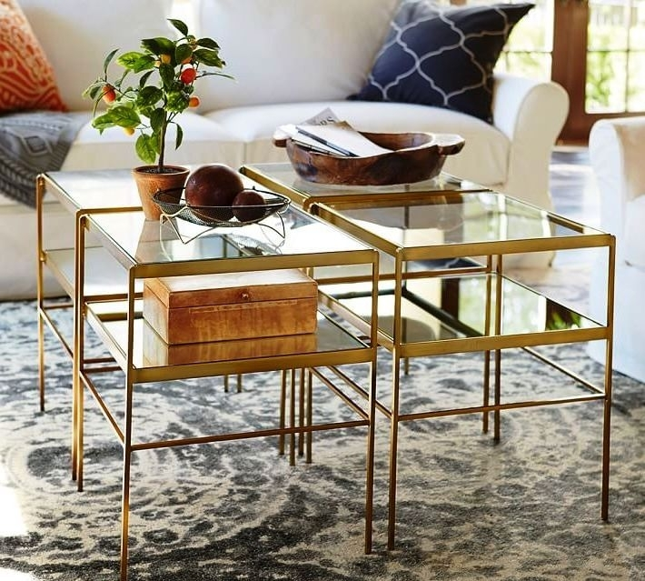 Fabulous Leona Cube Table Cool Glass Top Coffee Table With Metal With Regard To Brass Iron Cube Tables (Image 12 of 40)