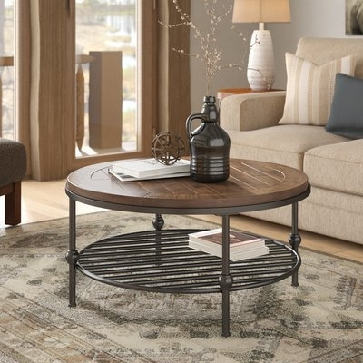 Farmhouse & Rustic Coffee Tables | Birch Lane Pertaining To Round White Wash Brass Painted Coffee Tables (View 18 of 40)