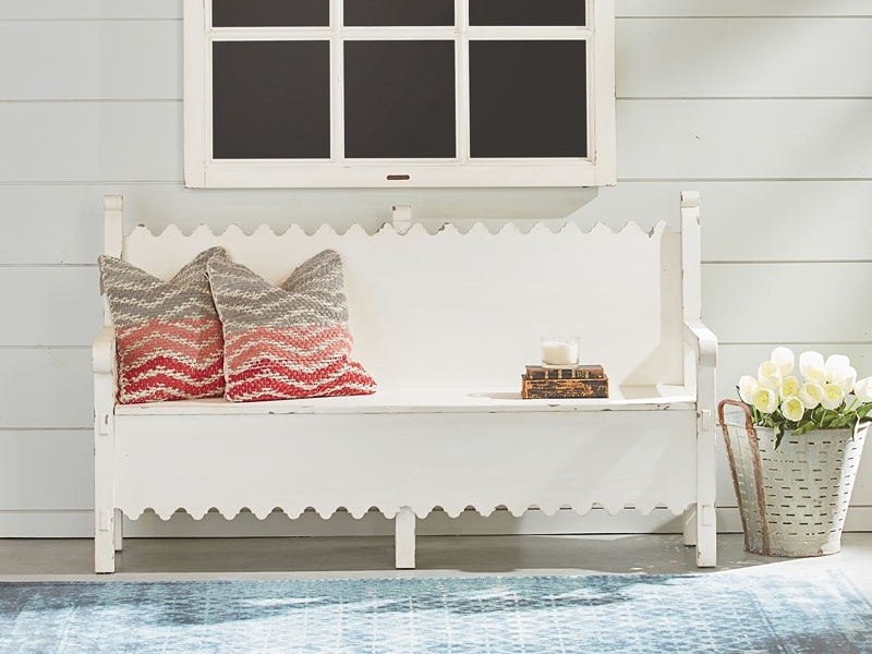Farmhouse Scalloped Bench With Storagemagnolia Home Pertaining To Magnolia Home Scallop Antique White Cocktail Tables (Image 9 of 40)