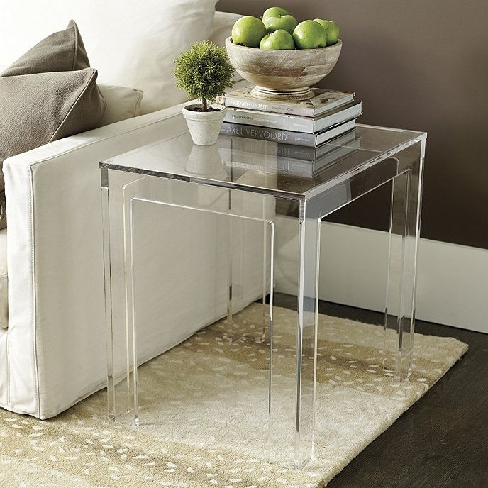 Felicity Acrylic Rectangular Side Table | Barclay Butera | Pinterest Throughout Felicity Cocktail Tables (Photo 10 of 40)