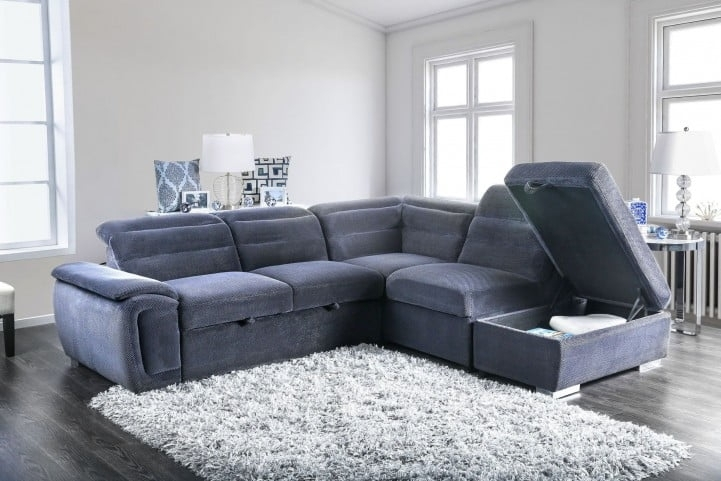 Felicity Dark Gray Sectional From Furniture Of America | Coleman Within Felicity Cocktail Tables (Image 19 of 40)