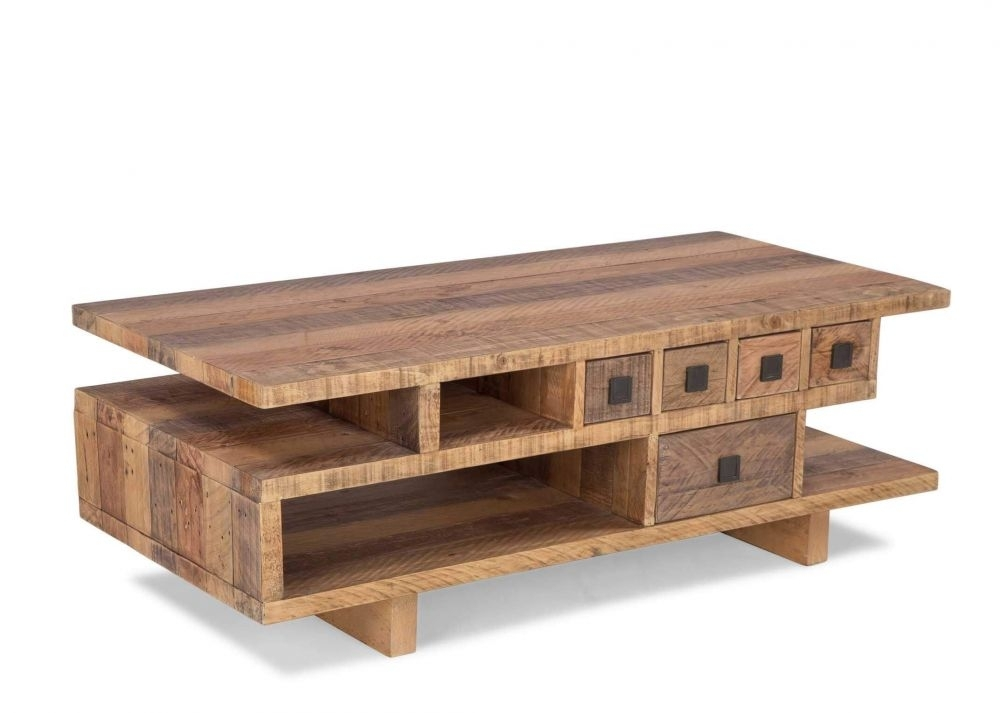 Five Drawer Pine Coffee Table – Polygon – Ez Living Furniture Intended For Reclaimed Pine Coffee Tables (Image 11 of 40)