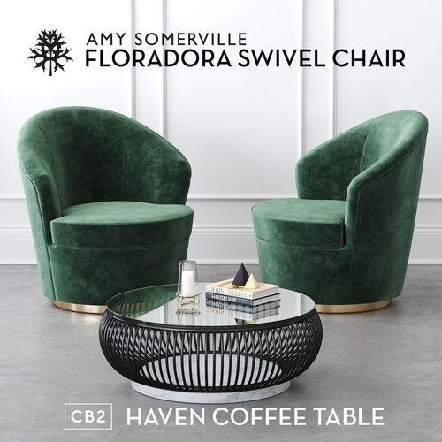 Floradora Swivel Chair With Cb2 Haven Coffee Table 3D Within Haven Coffee Tables (Photo 6 of 40)