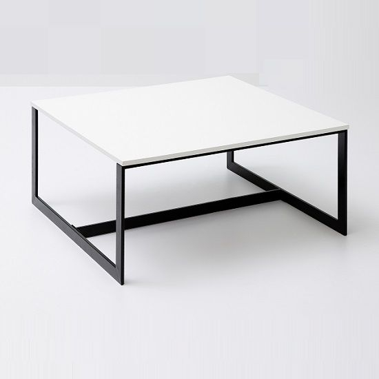 Fluoro Coffee Table Square In Matt White With Black Metal Legs Intended For Lassen Square Lift Top Cocktail Tables (View 2 of 40)