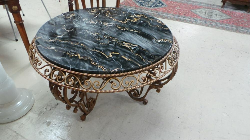French Art Deco Portoro Marble Top Wrought Iron Coffee Table Regarding Antiqued Art Deco Coffee Tables (Image 28 of 40)