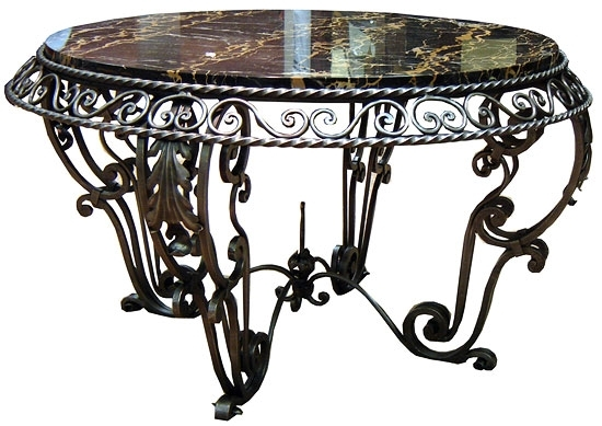 French Art Deco Wrought Iron And Marble Coffee Table | Modernism In Iron Marble Coffee Tables (Image 12 of 40)