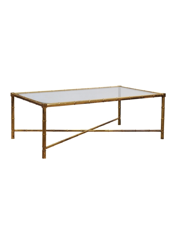 French Bagues Brass Coffee Table With Bamboo Style Leg & Rectangular With Regard To Rectangular Coffee Tables With Brass Legs (View 5 of 40)