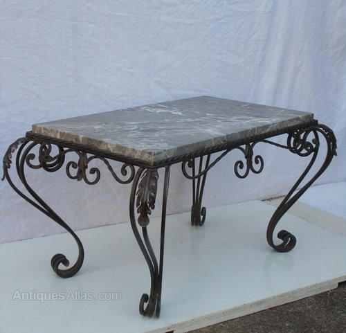 French Wrought Iron & Marble Coffee Table – Antiques Atlas Within Iron Marble Coffee Tables (Image 13 of 40)