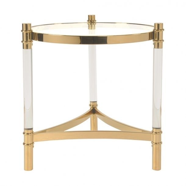 Fresca Acrylic End Table Glass Top, Transparent/gold | Memoky Throughout Acrylic Glass And Brass Coffee Tables (View 35 of 40)