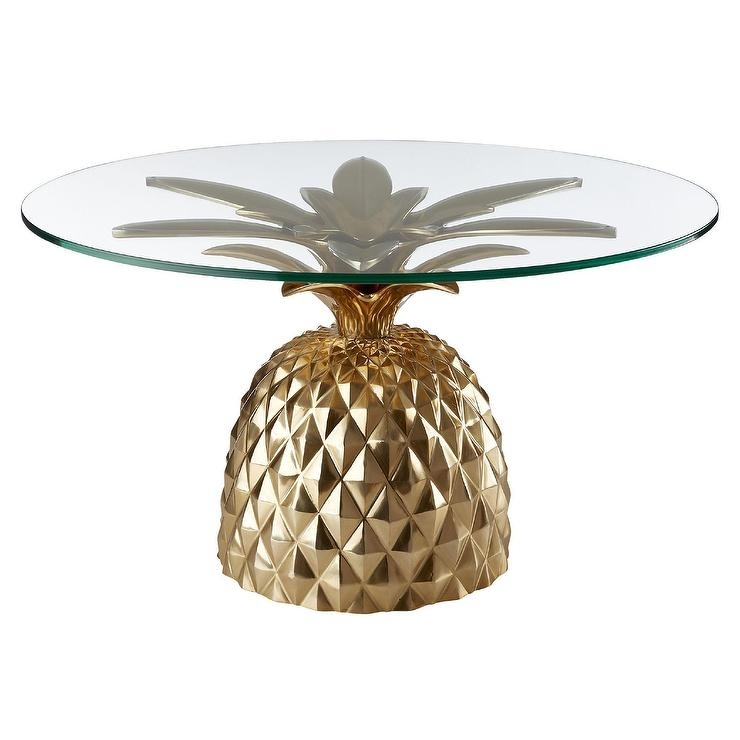 Fresh Cut Pineapple Glass Gold Side Table Intended For Fresh Cut Side Tables (Photo 2 of 40)
