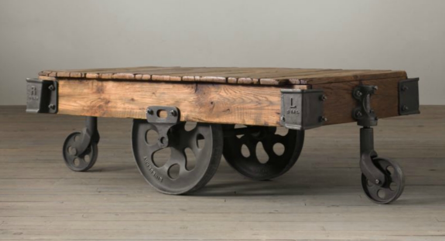 Friday Favorites ♥ Rustic Coffee Tables | Shining On Design In Natural Wheel Coffee Tables (Image 15 of 40)