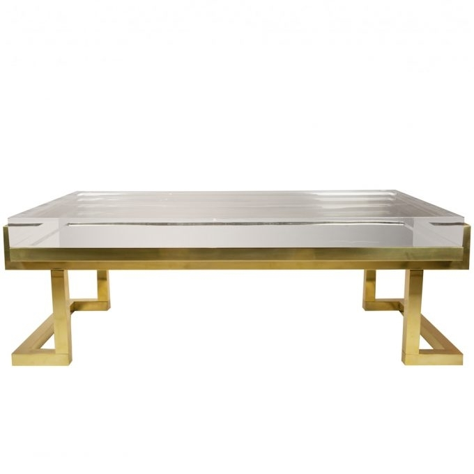 Furniture: Beautiful Lucite Coffee Table For Living Room Furniture In Acrylic Glass And Brass Coffee Tables (View 3 of 40)