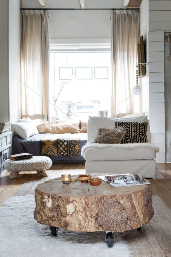 Furnitures : Cozy Room With Round Reclaimed Tree Trunk Coffee Table With Regard To Natural Wheel Coffee Tables (Image 17 of 40)