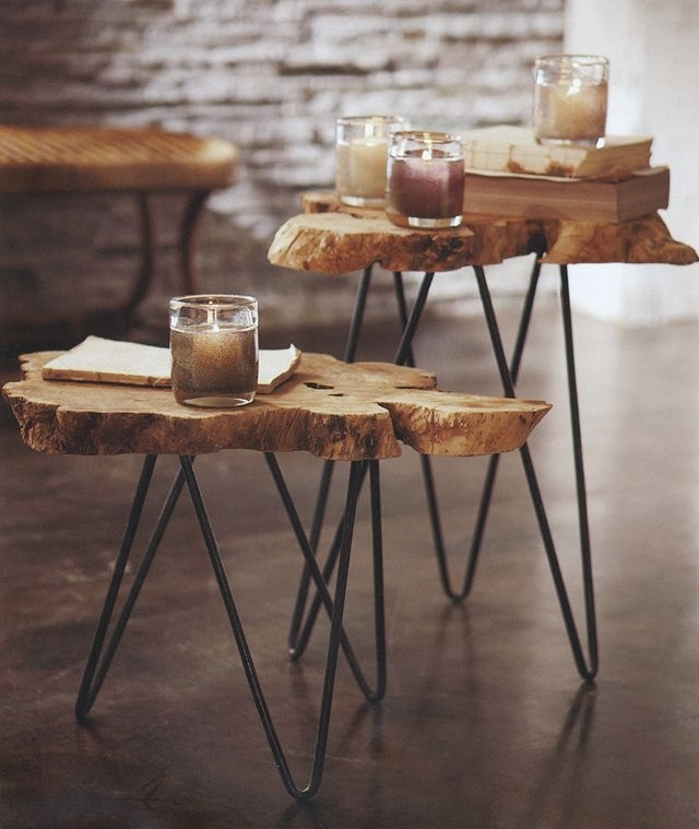 Furnitures : Small Unique Reclaimed Tree Trunks With Metal Legs For Sliced Trunk Coffee Tables (View 3 of 40)