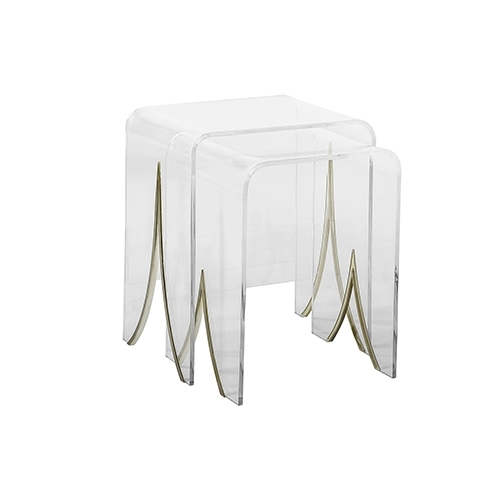 Gabby Home Magnolia Antique Brass Metal And Clear Acrylic Nesting Regarding Acrylic & Brushed Brass Coffee Tables (Photo 39 of 40)