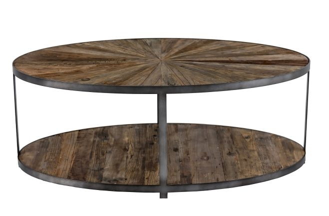 Gabby Ronald Reclaimed Wood Sunburst Oval Coffee Table Inside Reclaimed Elm Iron Coffee Tables (View 10 of 40)
