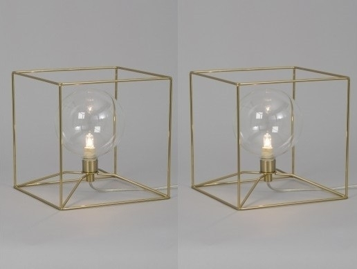 Geometric Cube Brass Wire Table Lamp Intended For Brass Iron Cube Tables (Image 13 of 40)