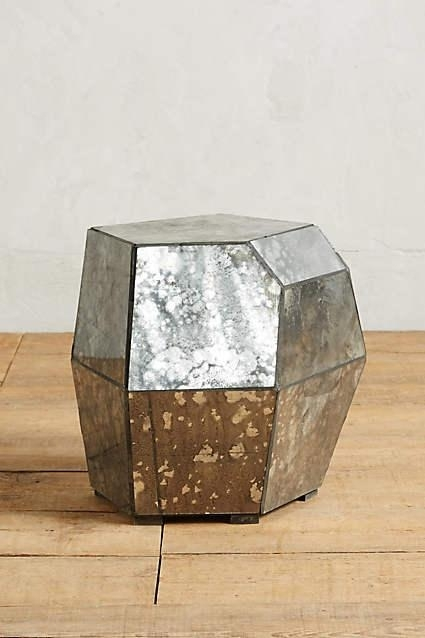 Geometric Mirror Storage Side Table For Geo Faceted Coffee Tables (Image 12 of 31)