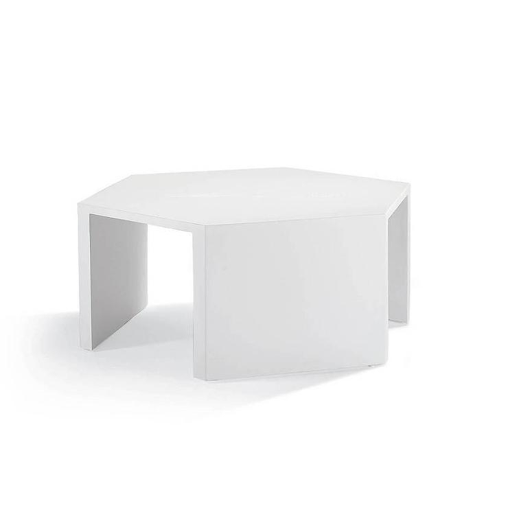 Geometric White Coffee Table Regarding Geo Faceted Coffee Tables (Image 13 of 31)