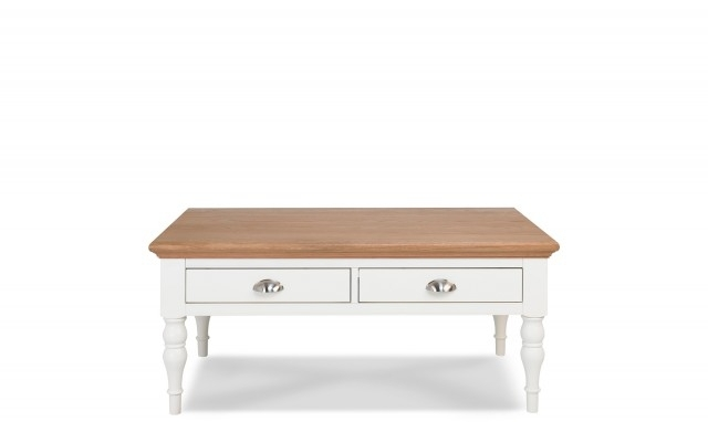Georgie – Coffee Table With Turned Legs In Cream Painted/natural Oak Throughout Natural 2 Drawer Shutter Coffee Tables (Image 23 of 40)