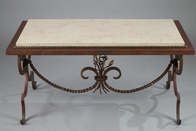 Gilded Wrought Iron & Marble Coffee Table, 1950S For Sale At Pamono Pertaining To Iron Marble Coffee Tables (Image 15 of 40)