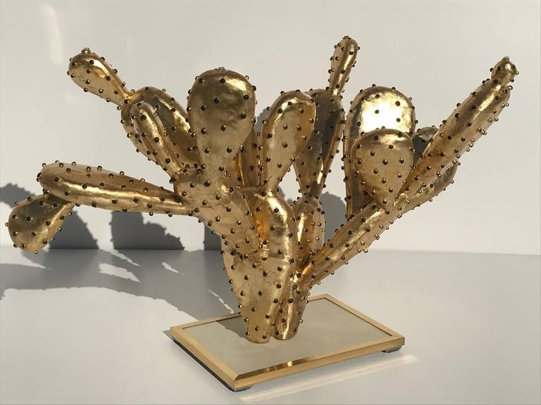 "Gilt Brass Cactus Coffee Table ""amalfi""alain Chervet For Sale At Inside Cacti Brass Coffee Tables (Photo 10 of 40)"