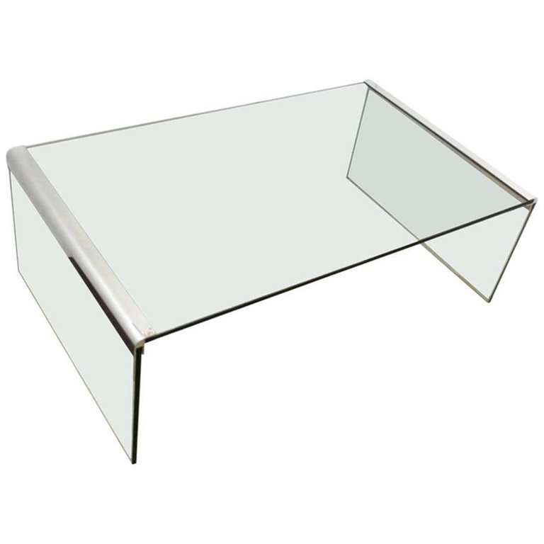 Glass And Chrome Waterfall Coffee Table – Lugussmodern Intended For Square Waterfall Coffee Tables (View 8 of 40)
