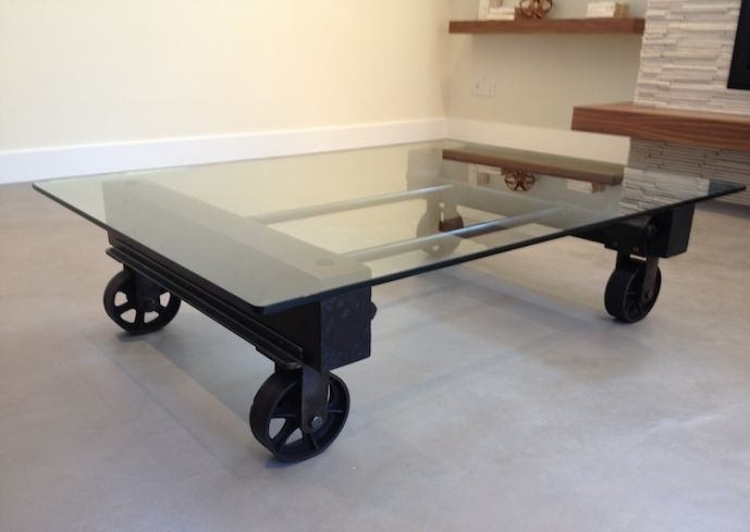 Glass And Metal Coffee Tables | Homesfeed For Iron Wood Coffee Tables With Wheels (Photo 21 of 40)