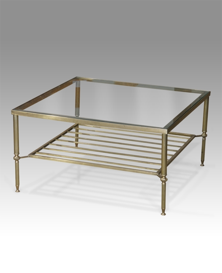 Glass Coffee Table, Antique Brass Coffee Table, Square Coffee Table Regarding Antique Brass Coffee Tables (Image 21 of 40)