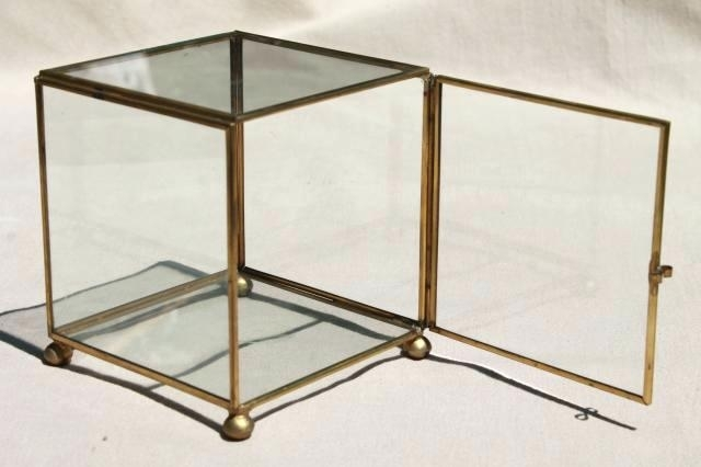 Glass Cube Display Vintage Glass Brass Box Showcase Cube Shaped Regarding Brass Iron Cube Tables (Image 15 of 40)