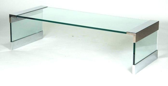 Glass Waterfall Table Vintage Pair Chrome And Glass Side Tables For Square Waterfall Coffee Tables (Photo 40 of 40)
