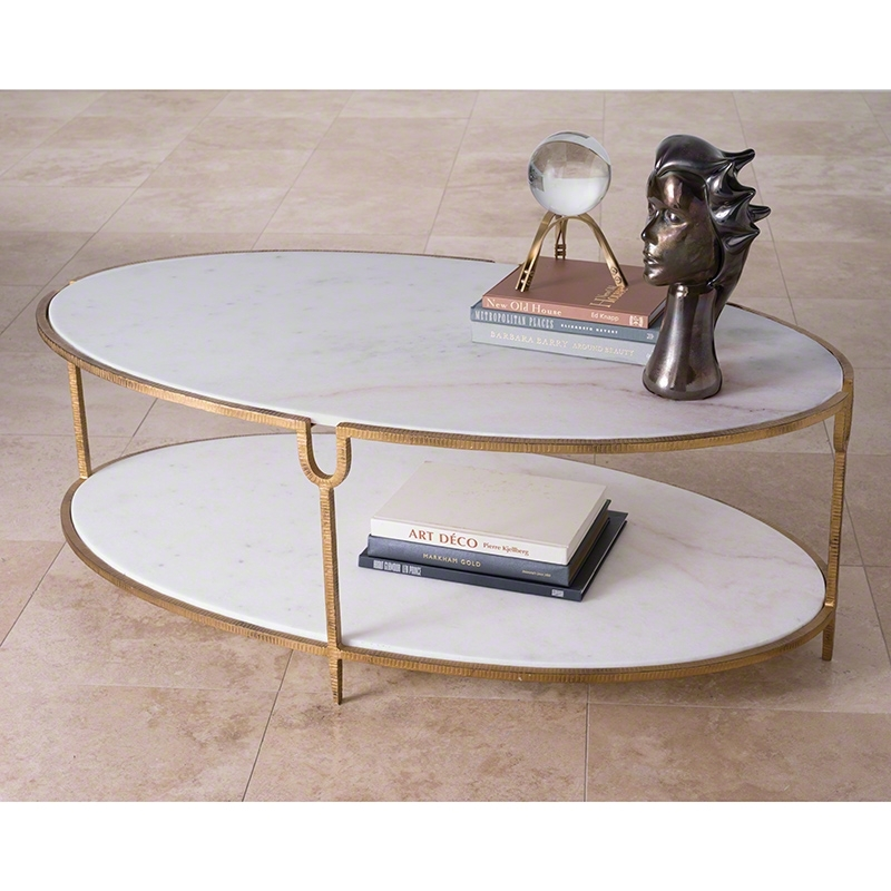 Global Views | Products | Iron And Stone Oval Coffee Table In Iron Marble Coffee Tables (Image 16 of 40)