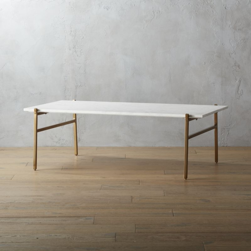 Gold Furniture | Cb2 Within Rectangular Brass Finish And Glass Coffee Tables (Photo 23 of 40)