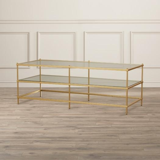 Gold Three Tiered Glass Coffee Table Intended For Rectangular Brass Finish And Glass Coffee Tables (View 18 of 40)