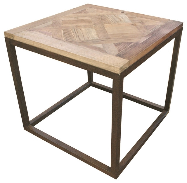 Gramercy Modern Rustic Reclaimed Parquet Wood Iron Side Table Pertaining To Parquet Coffee Tables (Image 13 of 40)