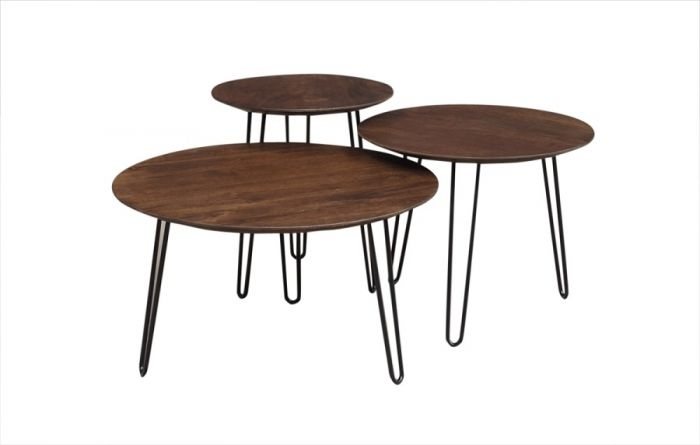 Graphik Chestnut Round Coffee Tables Set Of 3, Hc2682M01 C Regarding Tahoe Ii Cocktail Tables (Image 11 of 40)