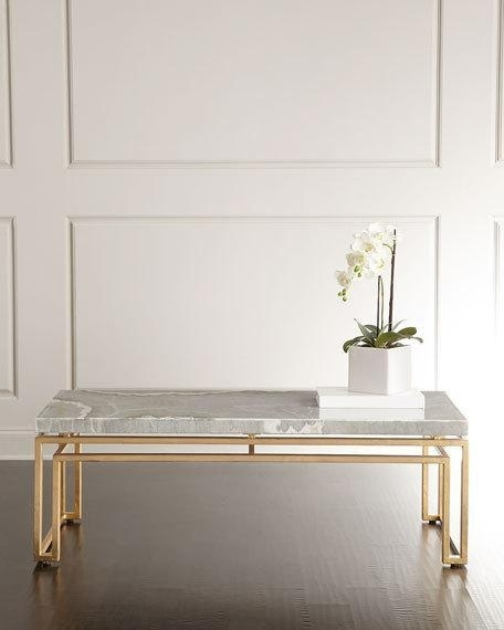 Gray Stone Slab Gold Base Coffee Table Intended For Darbuka Brass Coffee Tables (View 9 of 40)