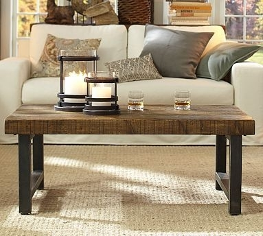 Griffin Wrought Iron & Reclaimed Wood Grand Coffee Table | Tables Within Reclaimed Pine & Iron Coffee Tables (View 17 of 40)