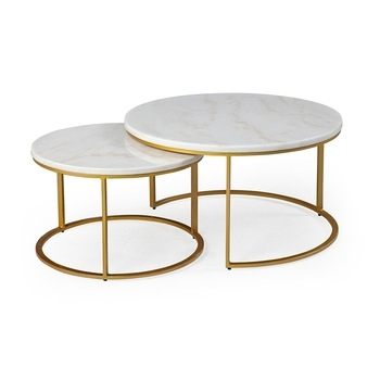Gt116 Natural Marble Nesting Coffee Tables Set Of 2 Golden Faceted For Set Of Nesting Coffee Tables (View 39 of 40)