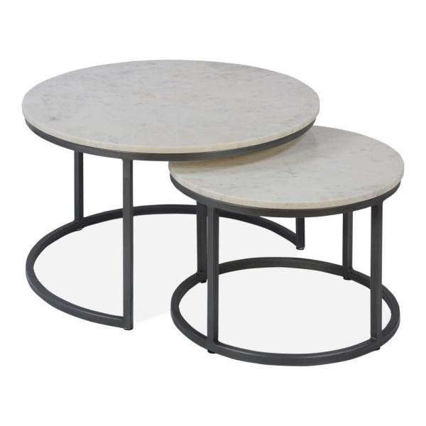 Gunmetal Madison Nest Of 2 Tables | Nesting Side Tables With Gunmetal Coffee Tables (Image 16 of 40)