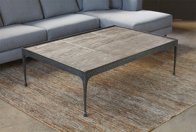 Hammered Iron Coffee Table With Reclaimed Pine Base Inside Reclaimed Pine & Iron Coffee Tables (View 4 of 40)