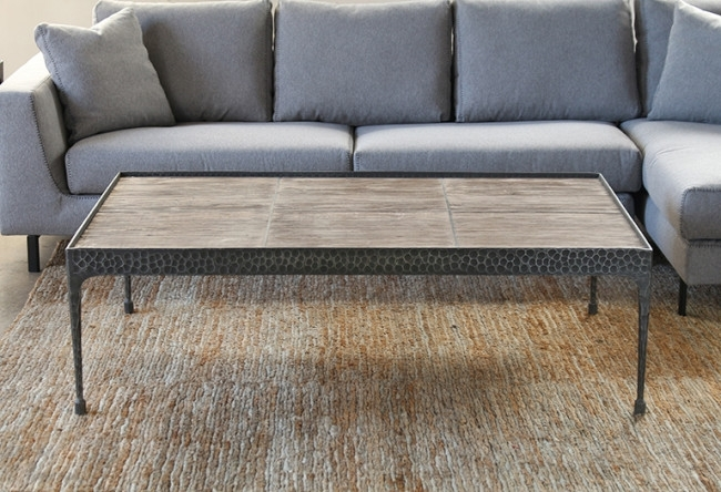 Hammered Iron Coffee Table With Reclaimed Pine Base Within Reclaimed Pine & Iron Coffee Tables (Photo 22 of 40)