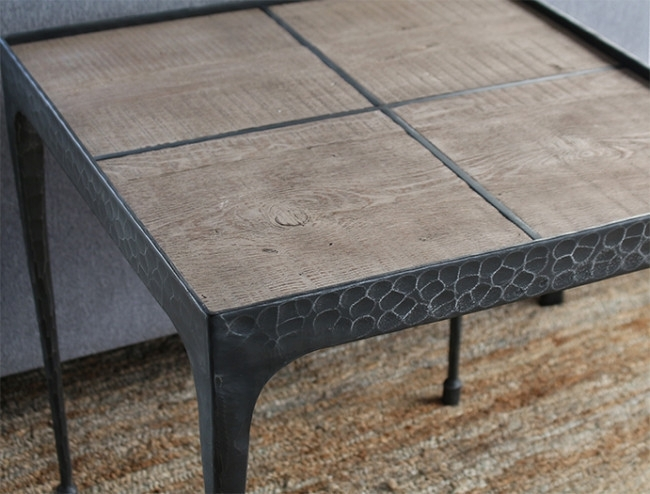 Hammered Iron End Table With Reclaimed Pine Top For Reclaimed Pine & Iron Coffee Tables (View 10 of 40)