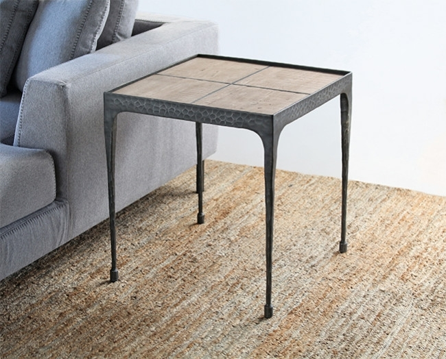 Hammered Iron End Table With Reclaimed Pine Top With Reclaimed Pine & Iron Coffee Tables (View 6 of 40)