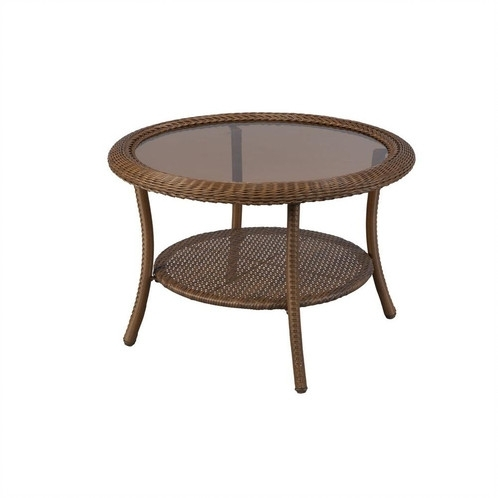 Hampton Bay Spring Haven Wicker Round Outdoor Coffee Table With Regard To Haven Coffee Tables (Image 9 of 40)