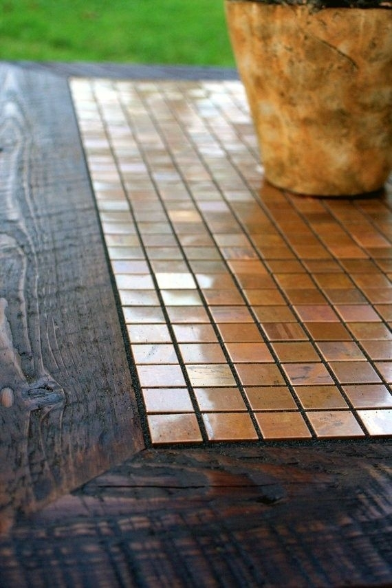 Hand Crafted Coffee Table, Copper Mosaic Tile Framed With Barnwood With Waxed Metal Coffee Tables (Image 13 of 40)